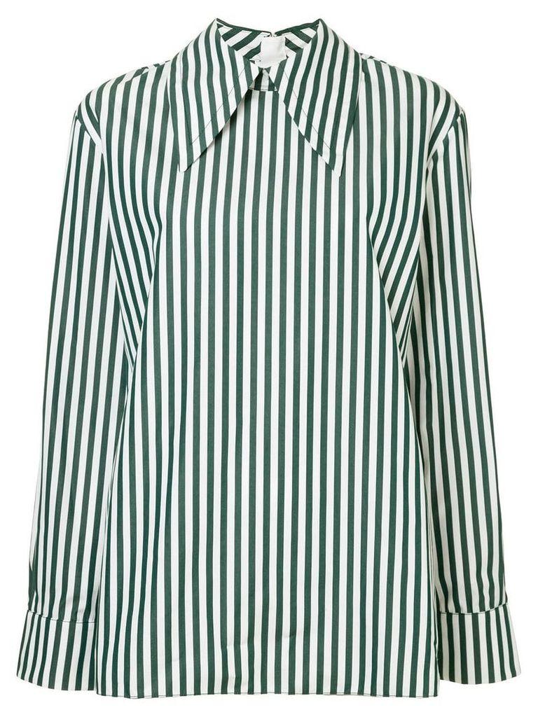 Marni striped oversized collar shirt - Green