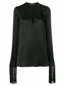 Alexander McQueen fringe trim shirt - Black