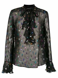 Reinaldo Lourenço sheer embroidered shirt - Black
