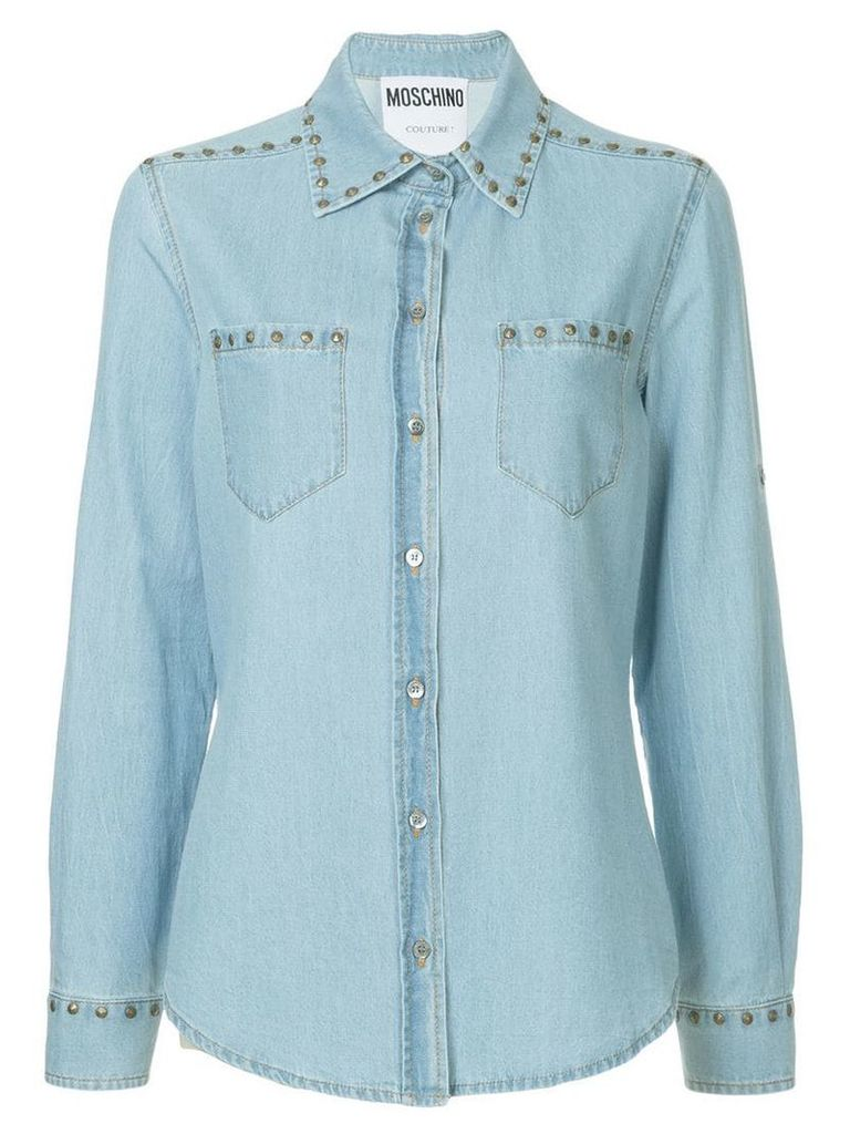 Moschino studded denim shirt - Blue