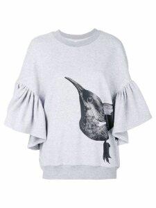 Ioana Ciolacu ruffle bird print sweatshirt - Grey