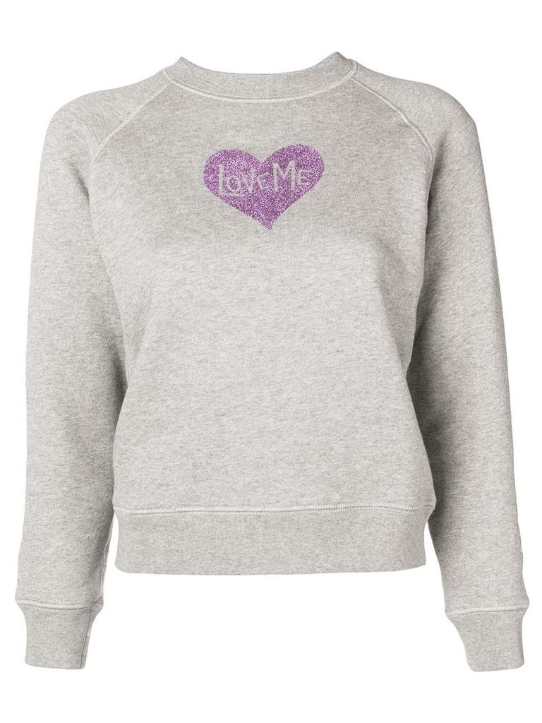Alexa Chung glitter heart print sweatshirt - Grey