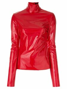 Ellery high shine roll neck top - Red