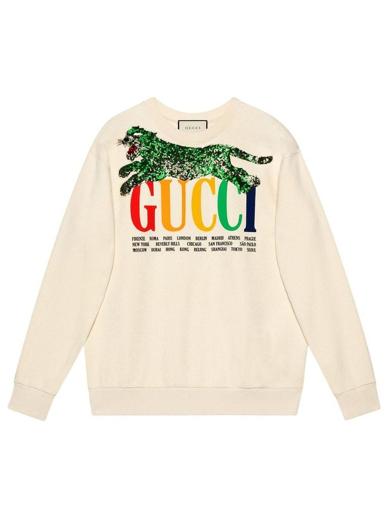 Gucci Gucci Cities sweatshirt with sequin panther - White