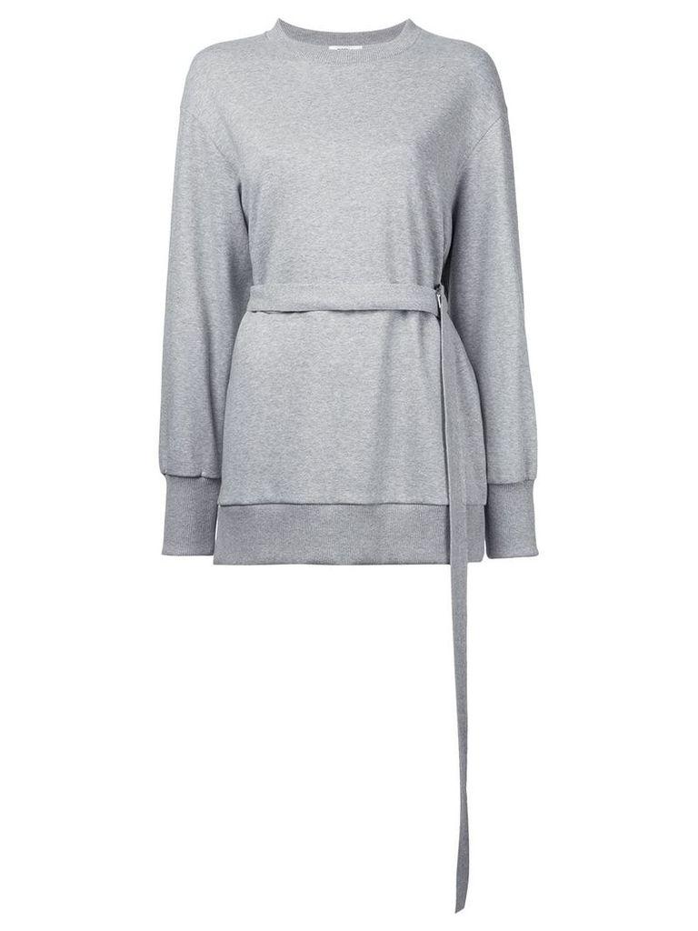 Goen.J Strap-belted jersey top - Grey