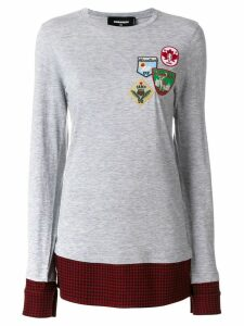 Dsquared2 flannel-panelled sweatshirt - Grey