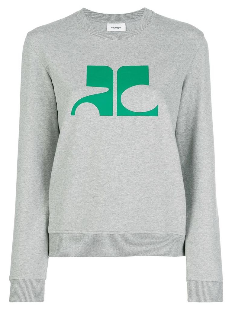 Courrèges logo print sweatshirt - Grey
