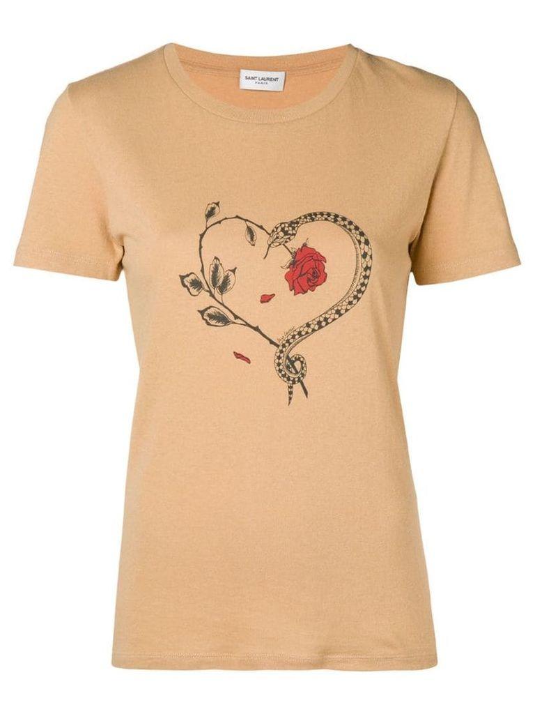 Saint Laurent snake heart print T-shirt - Neutrals