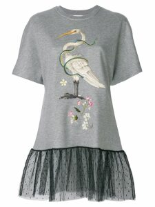 Red Valentino embroidered T-shirt with lace hem - Grey
