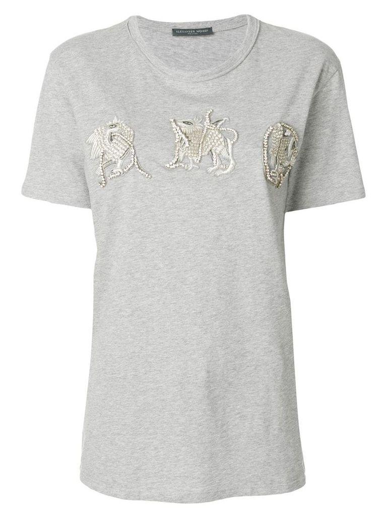 Alexander McQueen sequinned creature appliqués T-shirt - Grey