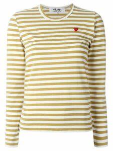 Comme Des Garçons Play mini heart striped T-shirt - Neutrals