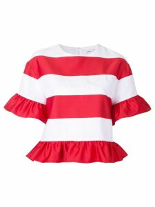 Goen.J striped ruffled T-shirt - White