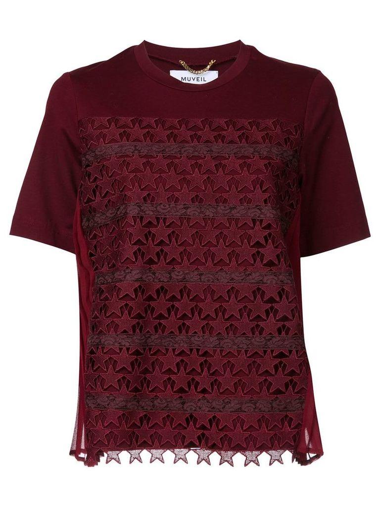 Muveil star crochet T-shirt - Red