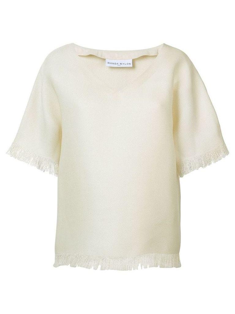 Wanda Nylon v-neck T-shirt - Neutrals