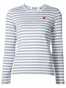 Comme Des Garçons Play mini heart logo striped T-shirt - Grey