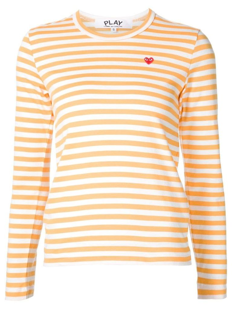 Comme Des Garçons Play mini-heart striped T-shirt - Yellow