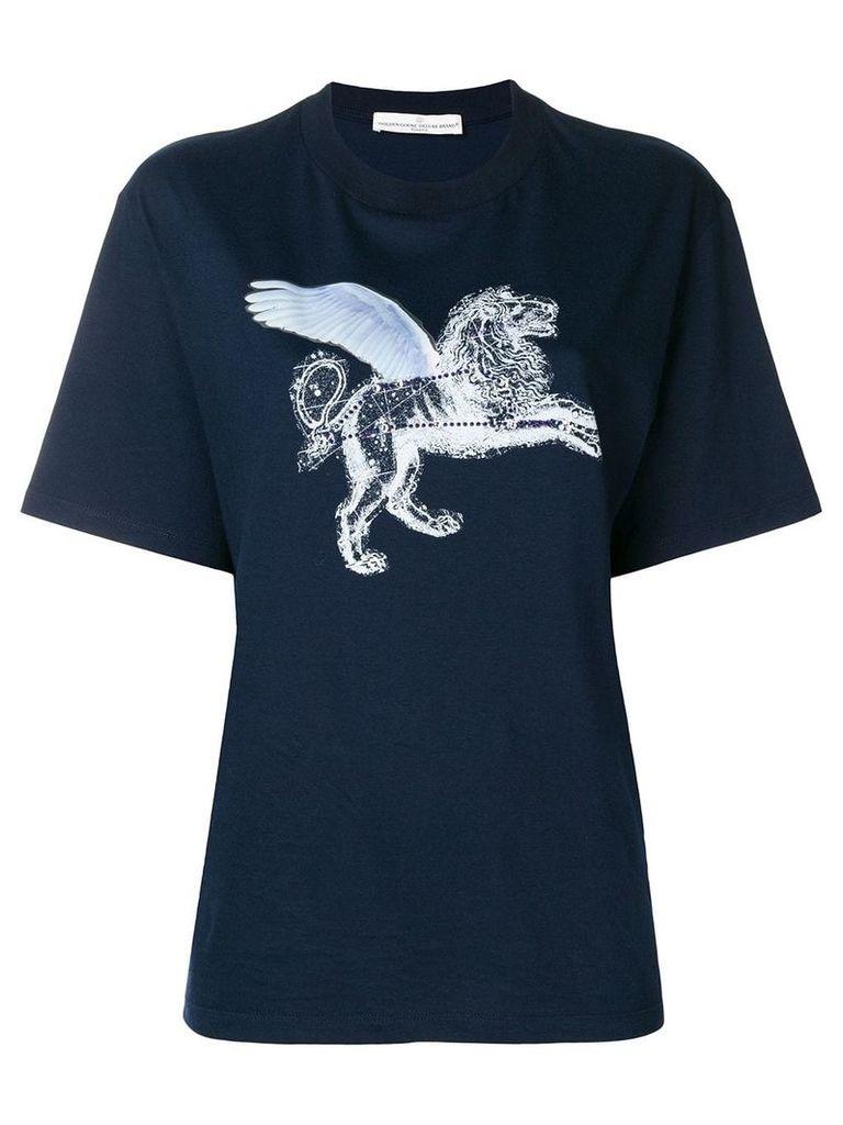 Golden Goose strass lion print T-shirt - Blue