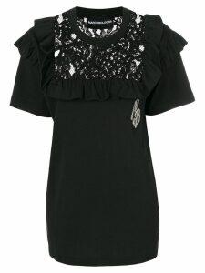 Marco Bologna lace yoke detail top - Black