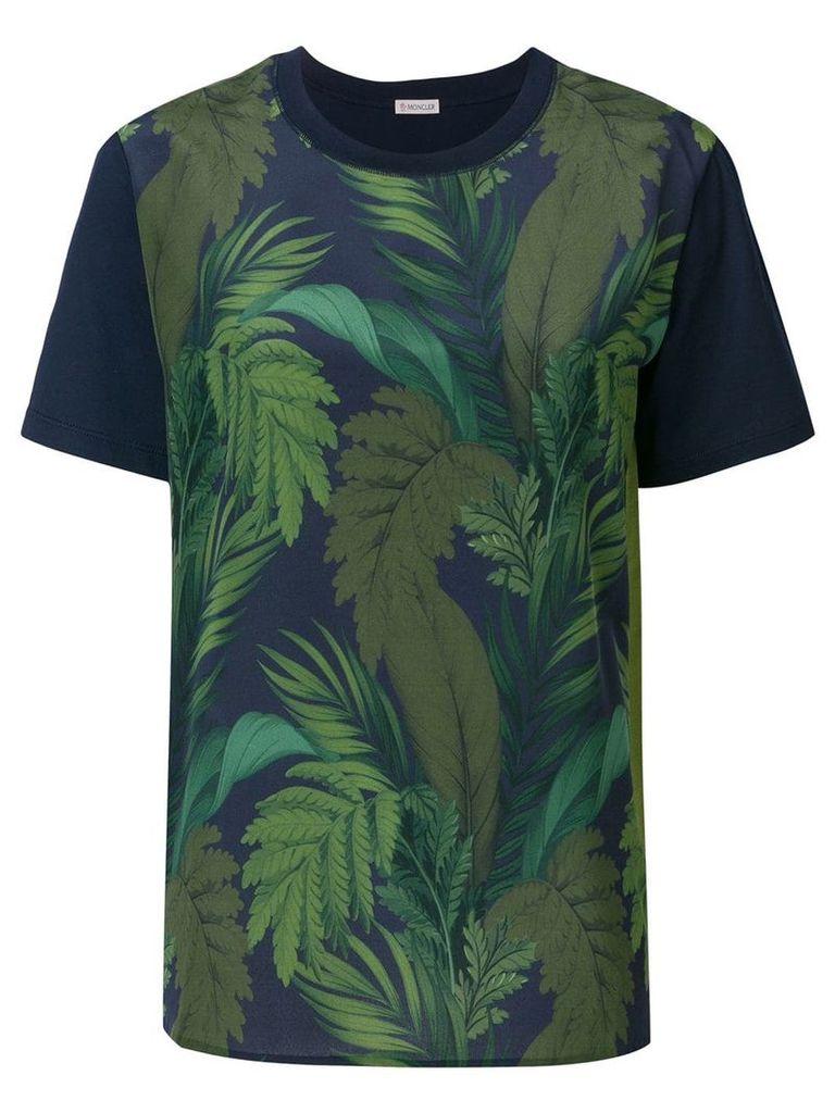 Moncler foliage print contrast sleeve T-shirt - Blue