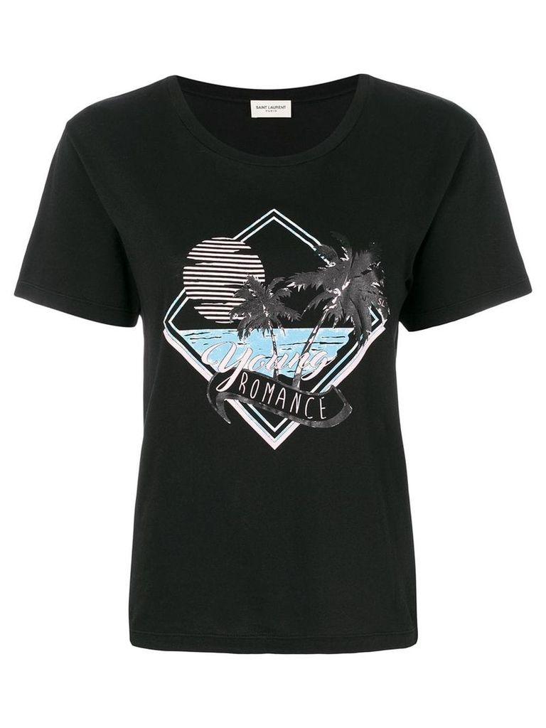 Saint Laurent palm tree print T-shirt - Black