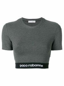 Paco Rabanne logo print cropped T-shirt - Grey