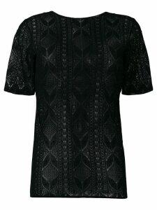 Saint Laurent lace short sleeve top - Black