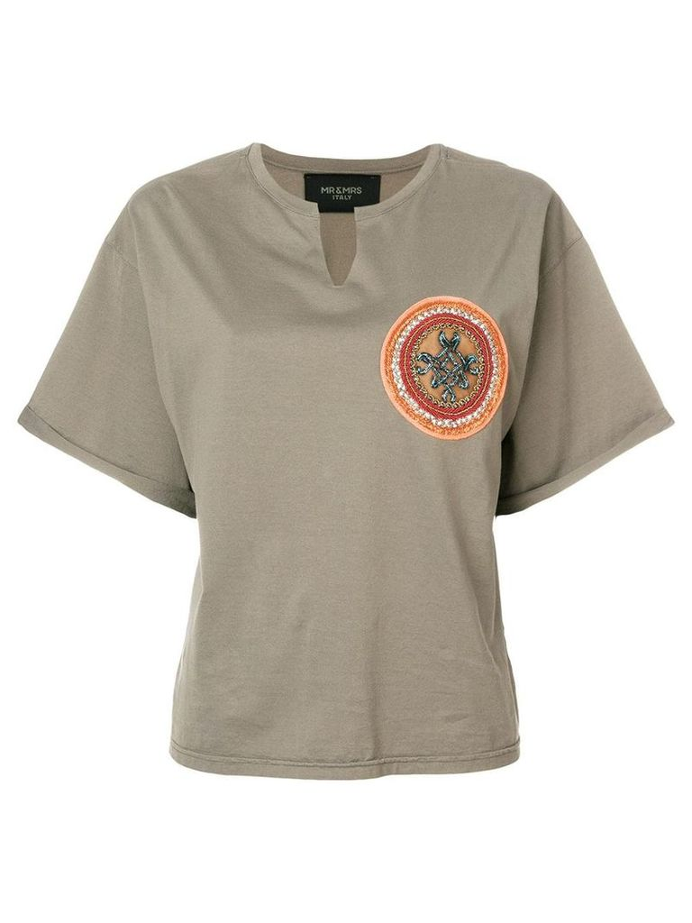 Mr & Mrs Italy beaded patch T-shirt - Green