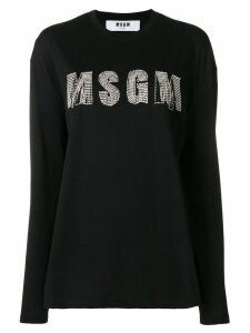 MSGM rhinestone logo top - Black