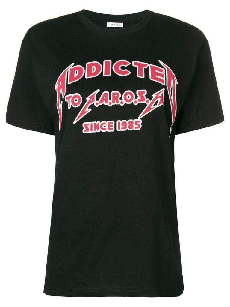 P.A.R.O.S.H. slogan print T-shirt - Black