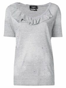 Dsquared2 ruffle-trimmed T-shirt - Grey