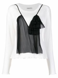 Aalto ruffled embellishment T-shirt - White