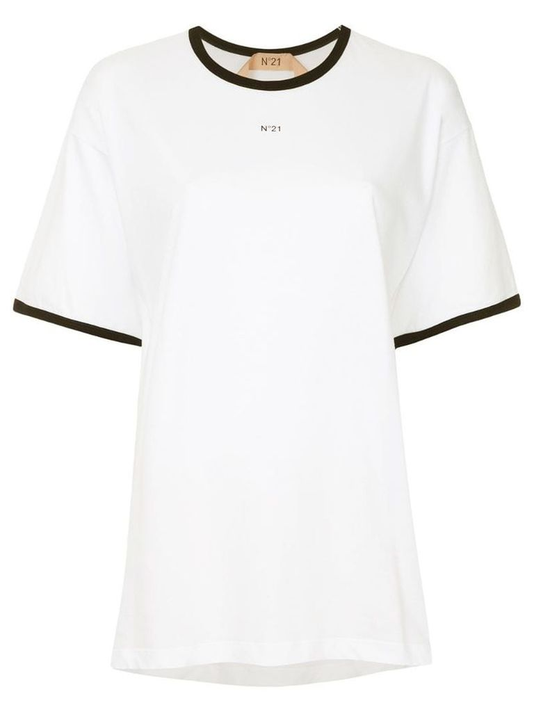 Nº21 contrast trim T-shirt - White