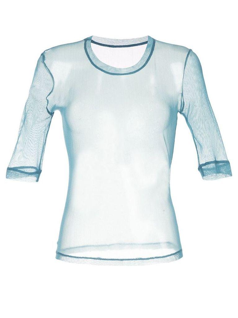 Taylor sheer 3/4 sleeve T-shirt - Blue