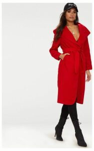 Veronica Red Oversized Waterfall Belted Coat, Red