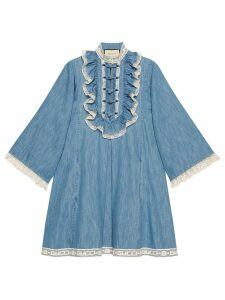 Gucci Denim tunic with lace detail - Blue