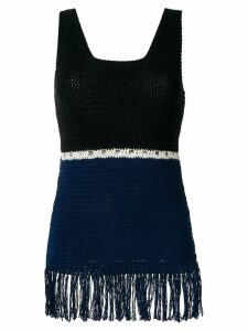 Zeus+Dione fringed colour block knitted top - Blue