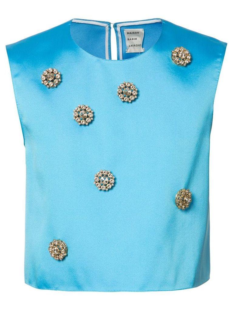Maison Rabih Kayrouz embellished cropped top - Blue