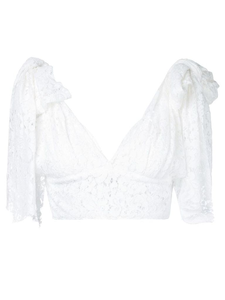 Bambah tied shoulder triangle top - White