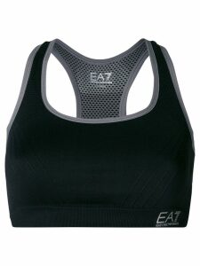 Ea7 Emporio Armani logo crop top - Black