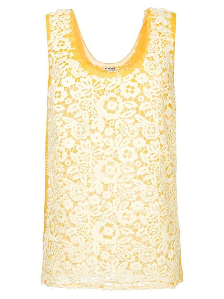 Miu Miu lace tank top - Yellow