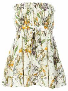 Alexander McQueen flared floral bandeau top - Neutrals