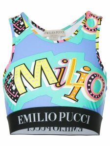 Emilio Pucci abstract print crop top - Blue
