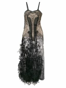 Yes Master sheer embroidered night-dress - Black