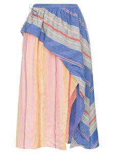 A Peace Treaty Tarouba stripe high waist silk cotton-blend skirt -
