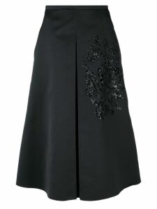Rochas sequin embroidery flared skirt - Black