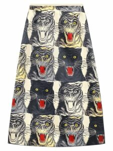 Gucci Tiger face print silk a-line skirt - Neutrals