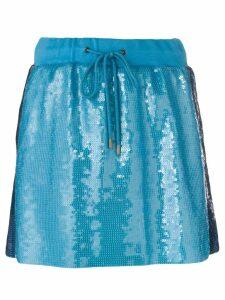 Alberta Ferretti side stripe sequin mini skirt - Blue