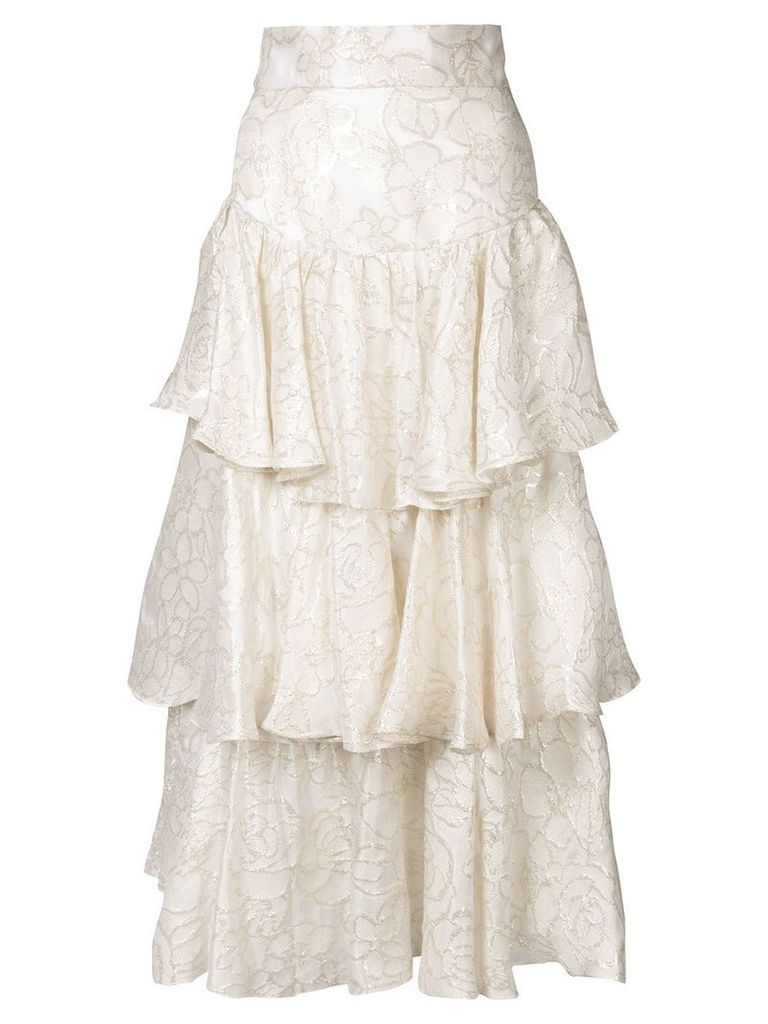 Bambah gold lamé ruffle skirt - White