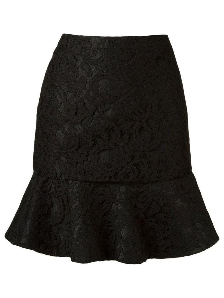 Martha Medeiros ruffled hem 'marescot' lace skirt - Black