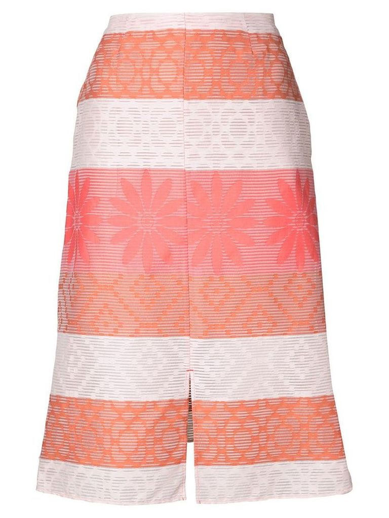 Julien David patterned A-line skirt - White